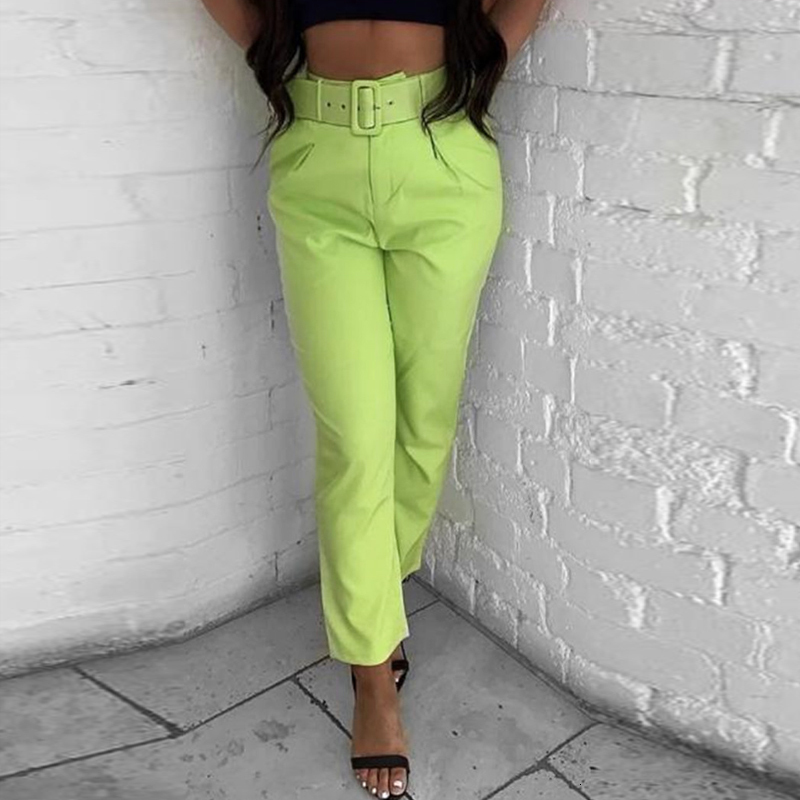 Women's Summer Casual Skinny High-Waist Pants With Pockets