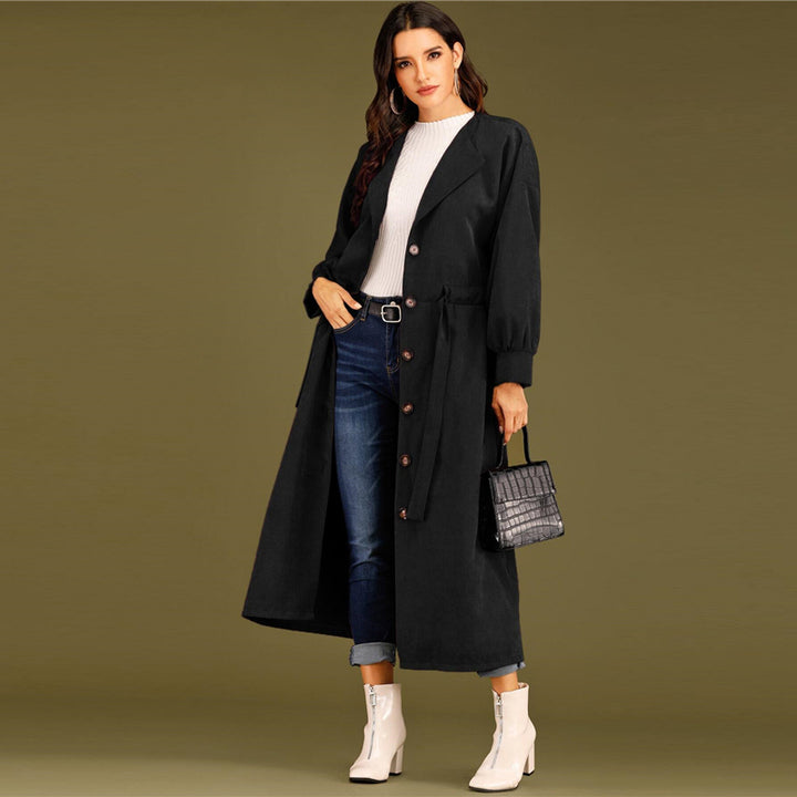 Women's Spring Casual Polyester Long-Sleeve Trench Coat With Buttons