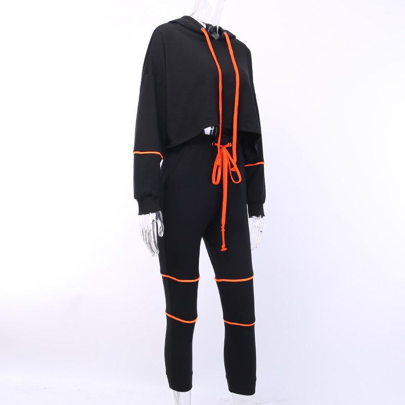 Women's Autumn Hooded Slim Two-Piece Suit