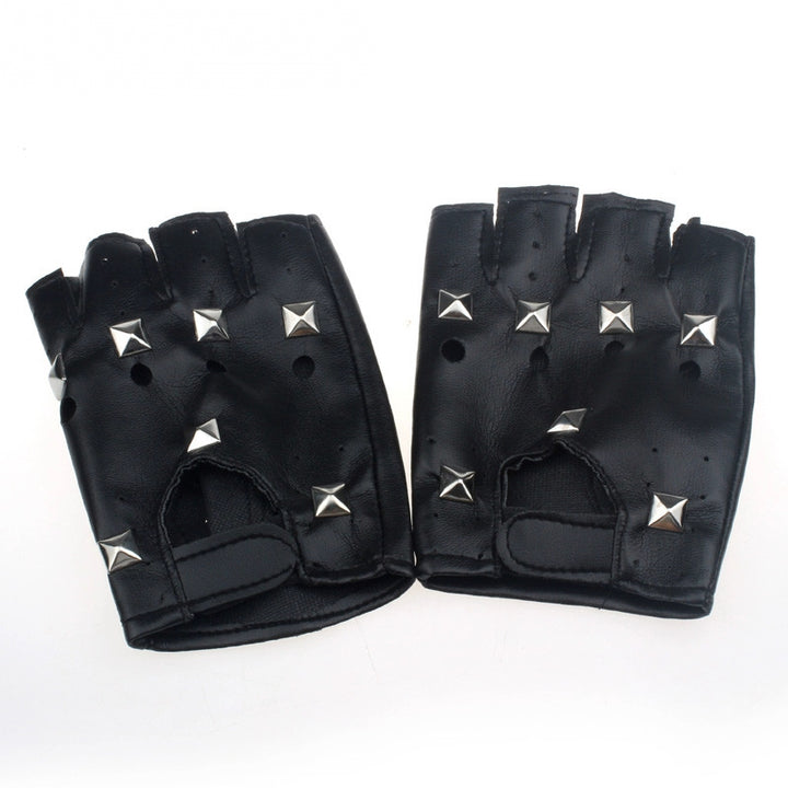 Men's Leather Fingerless Gloves With Square Rivets