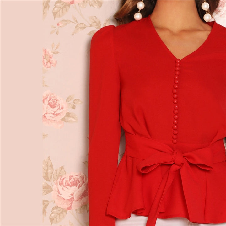 Women's Spring V-Neck Peplum Blouse
