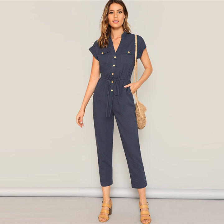 Women's Spring Casual V-Neck Solid Jumpsuit