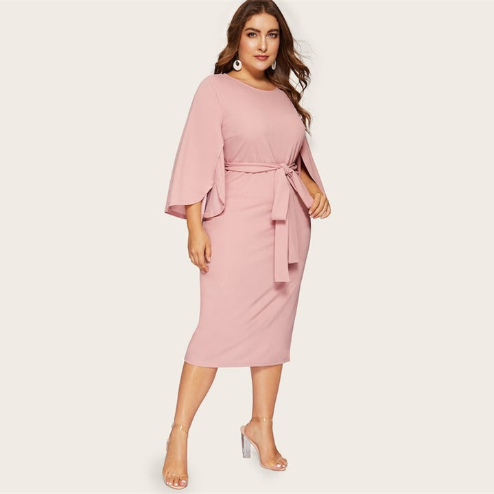 Women's Spring Solid Belted Bodycon Dress | Plus Size