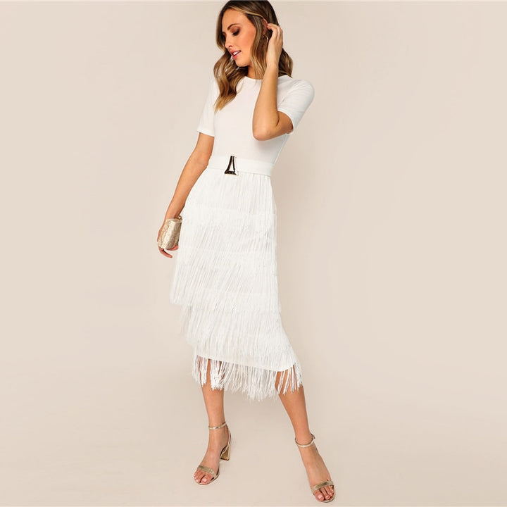 Women's Summer Layered Fringe Midi Dress