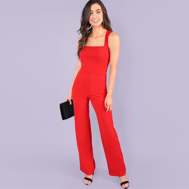 Women's Summer Sleeveless Skinny Jumpsuit With Square Neck