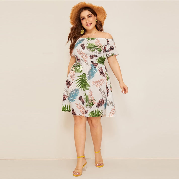 Women's Summer A-Line High-Waist Dress | Plus Size