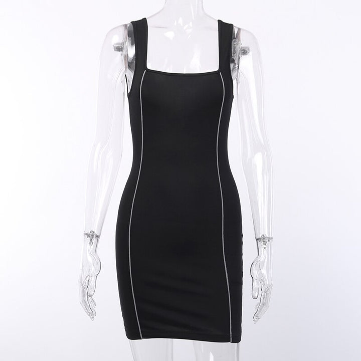 Women's Summer Casual Sleeveless Square Neck Slim Dress