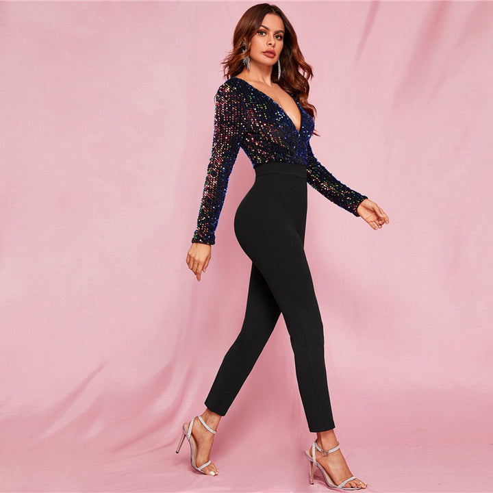 Women's Spring V-Neck Skinny High-Waist Jumpsuit With Sequin
