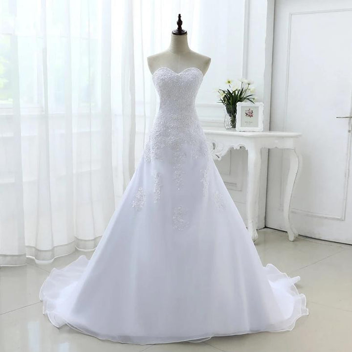 Women's V-Neck Off-Shoulder Lace-Up Wedding Dress With Beads