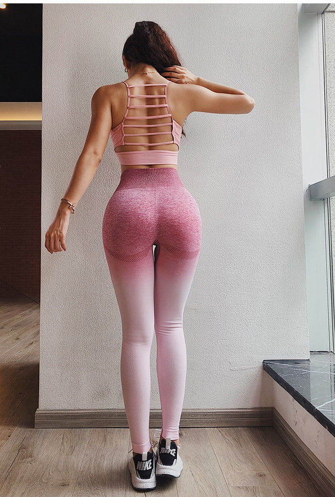 Women's Ombre Seamless High Waist Push Up Fitness Leggings