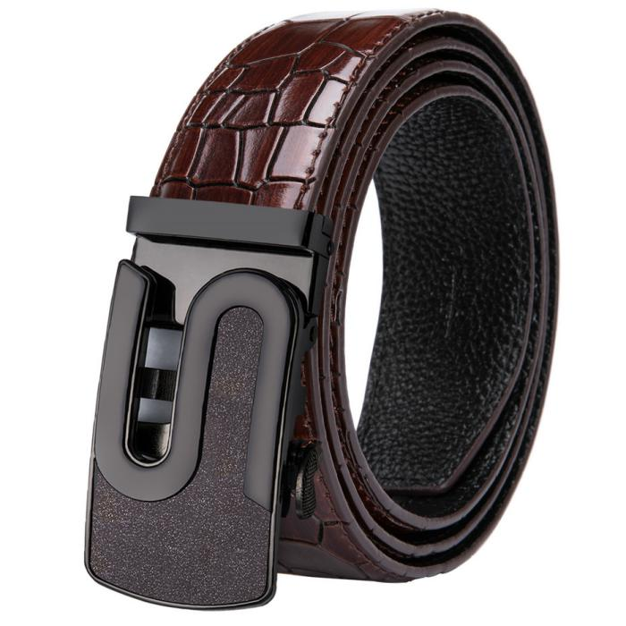 Men's Leather Belt With Automatic Buckle