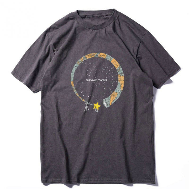 "Men's Summer Casual Cotton Loose T-Shirt ""Discover Yourself"""