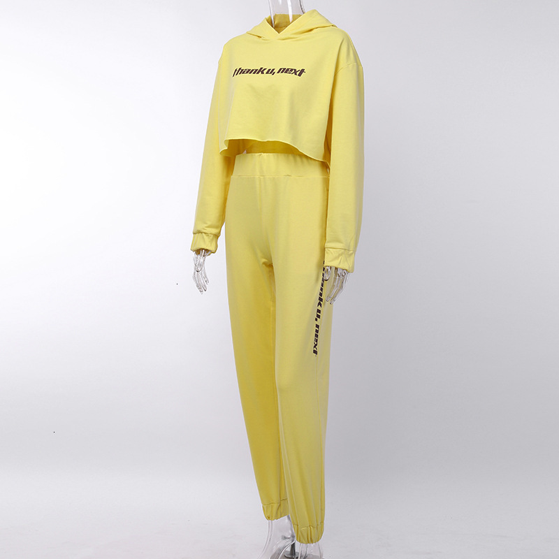 "Women's Spring/Autumn Casual Elastic Spandex Two-Piece ""Thanku Next"" Suit 
