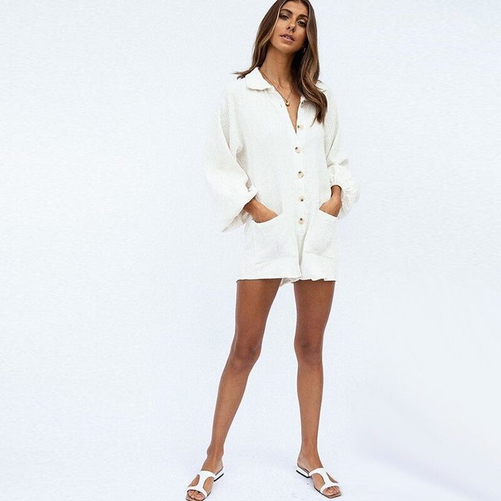Women's Loose Cotton Buttoned Turn-Down Collar Romper