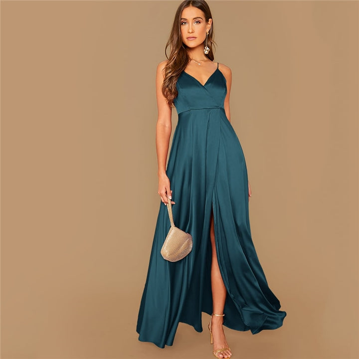 Women's Summer Satin A-Line V-Neck Long Dress