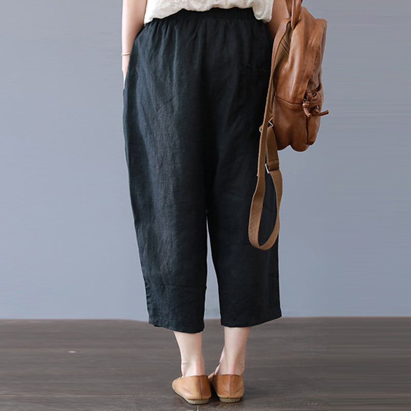Women's Casual Linen Elastic Waist Pants With Pockets