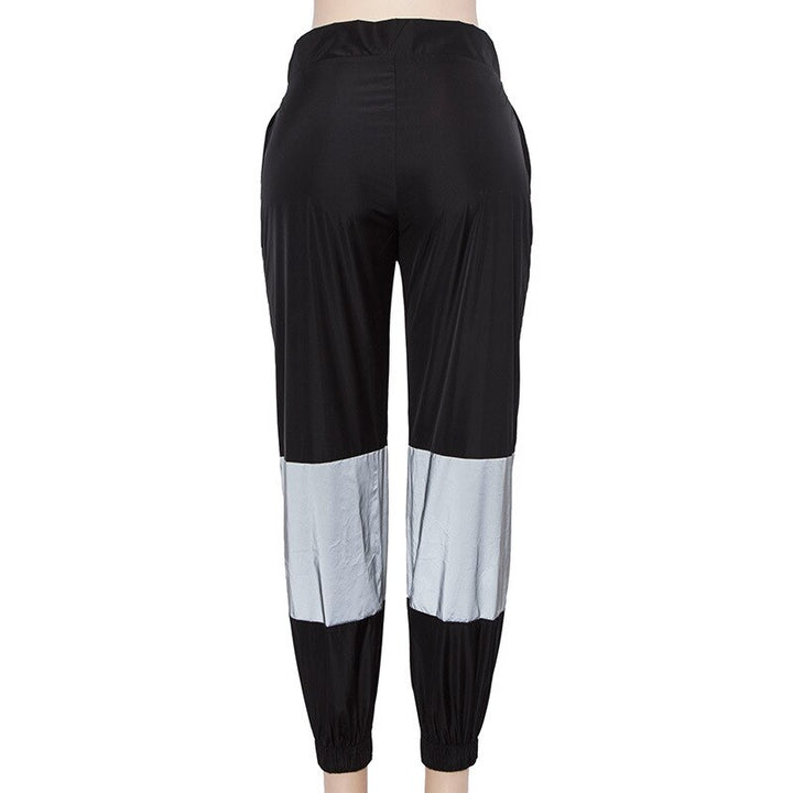 Women's Summer Casual Reflective Patchwork Joggers With Zippers