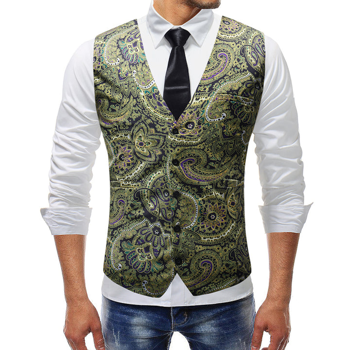 Men's Casual Slim Fit Vest With Print