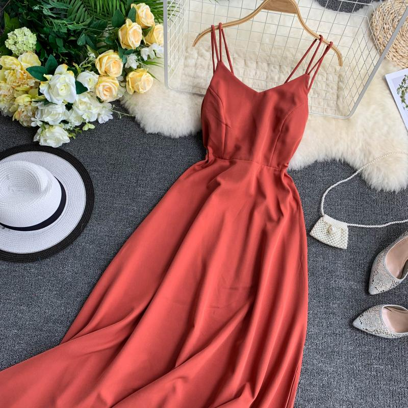 Women's Summer V-Neck Backless A-Line Long Dress