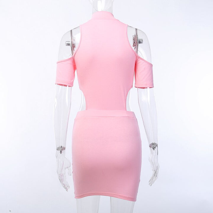 Women's Summer Casual Slim Zip Up Dress