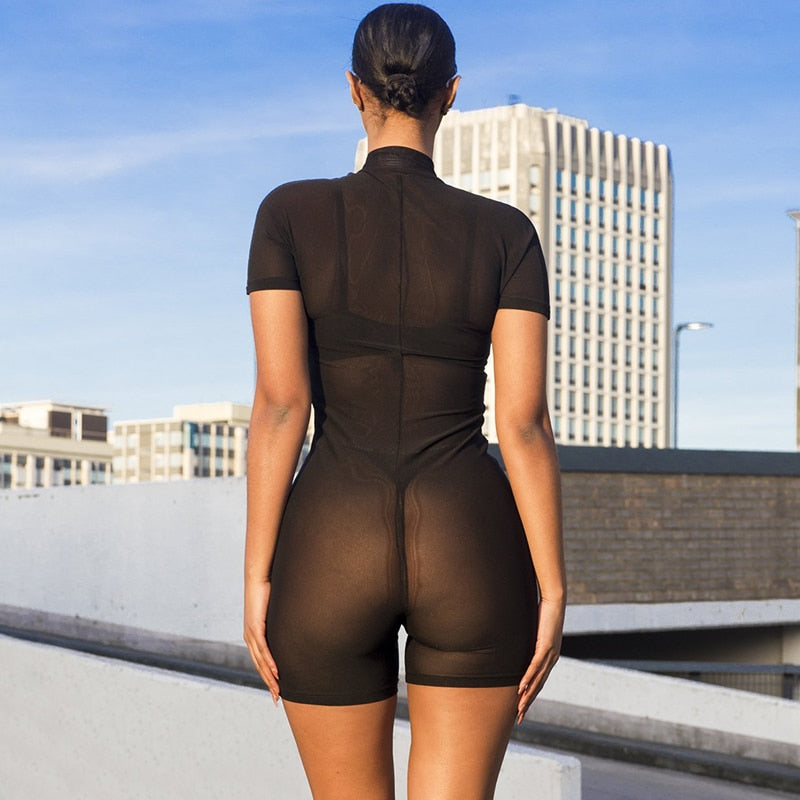 Women's Summer Bodycon Mesh Short Sleeve Bodysuit
