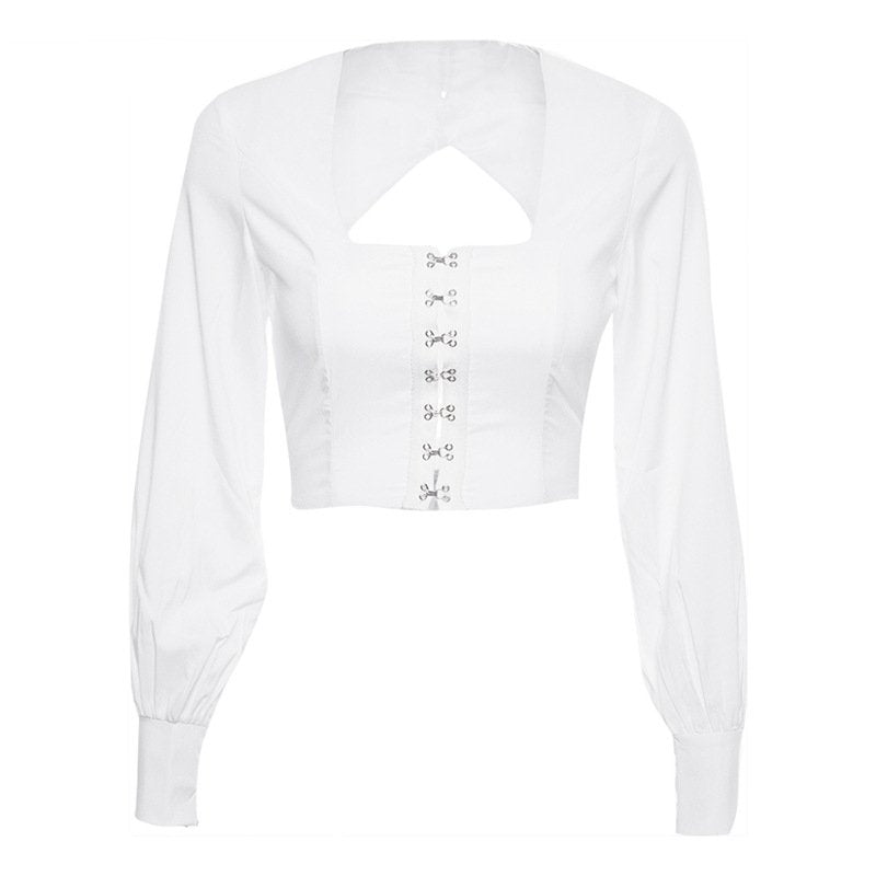 Women's Summer Long Sleeve Blouse With Square Neck