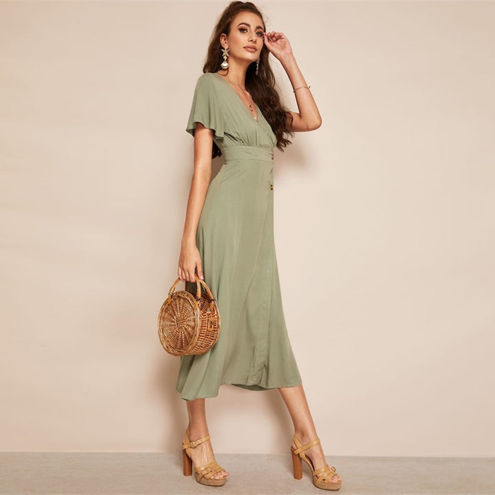 Women's Summer High Waist Solid A-Line Dress