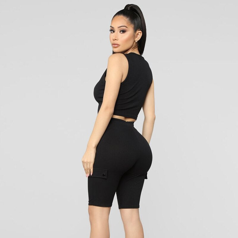 Women's Summer Casual Elastic Bodycon Sleeveless Two-Piece Suit
