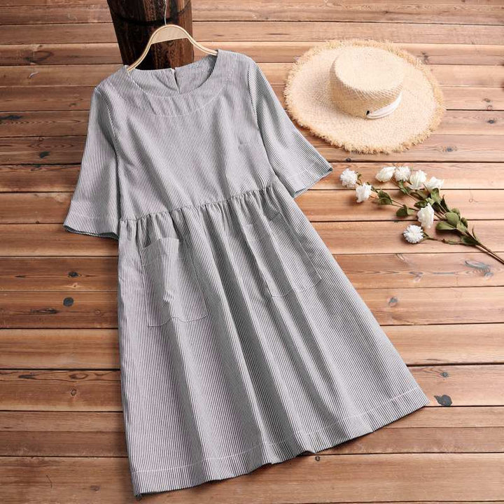 Women's Summer Casual Striped O-Neck Loose Dress With Pockets