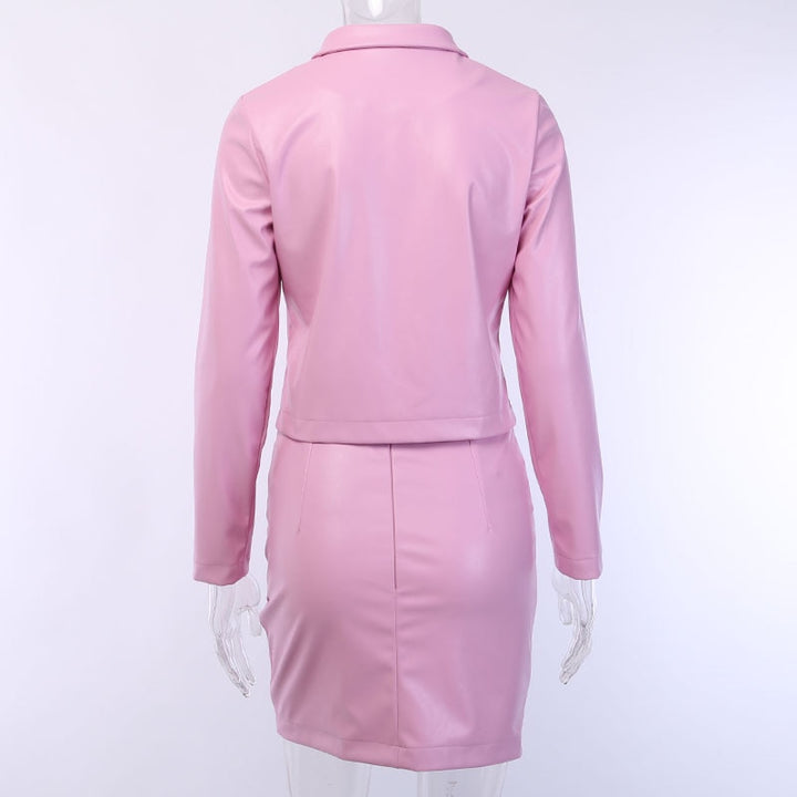 Women's Autumn PU Leather Solid Suit With Turn-Down Collar