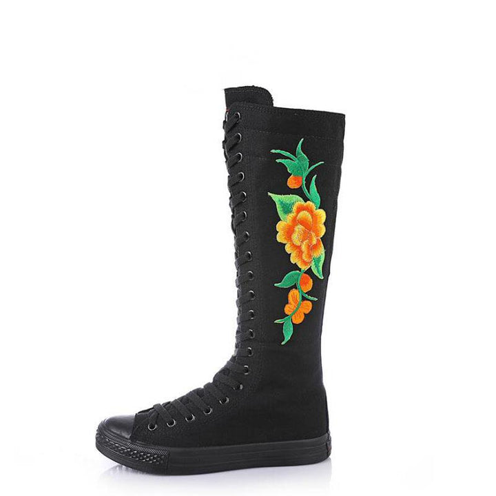 Women's Casual Canvas High Shoes With Embroidery | Plus Size