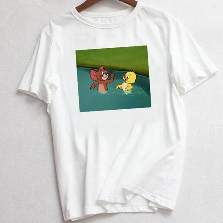 Women's Summer Casual Loose O-Neck T-Shirt With Cartoon Print