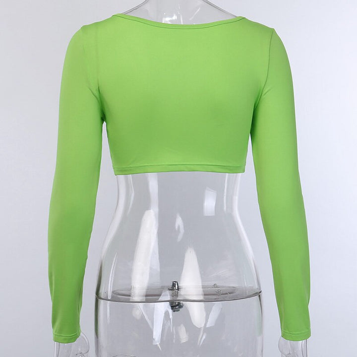 Women's Spring Elastic V-Neck Long Sleeve Crop Top