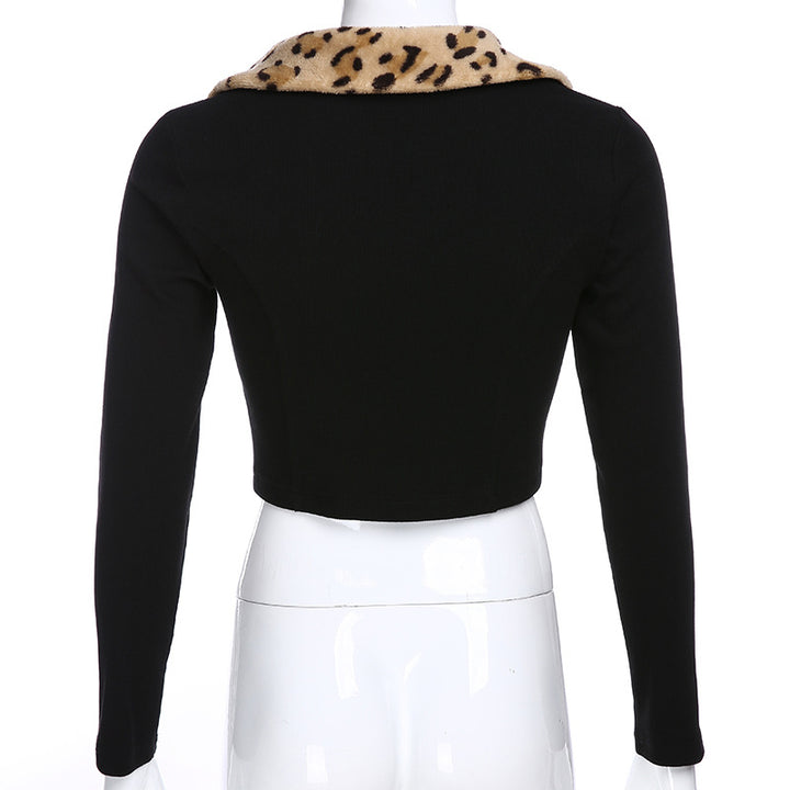 Women's Autumn Turn-Down Collar Knitted Stretchy Crop Top