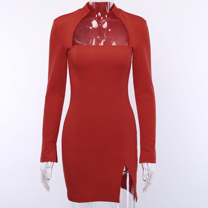 Women's Autumn Long Sleeve Bodycon Split Mini Dress