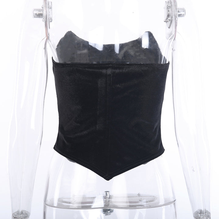 Women's Summer Velvet Slim Off Shoulder Tube Top