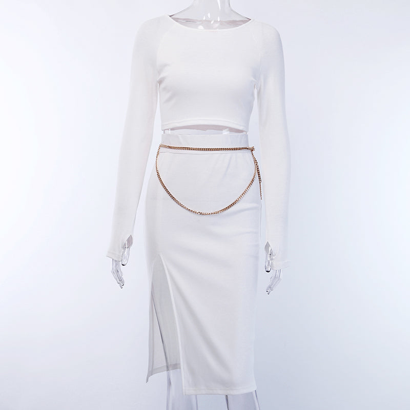 Women's Elastic Ribbed Knitted Long Sleeve Two-Piece Dress