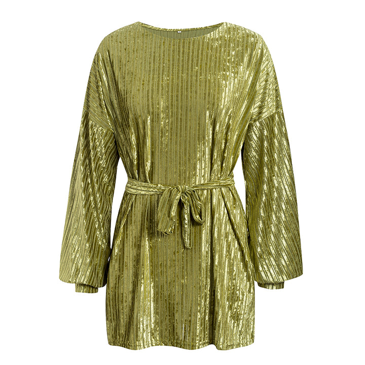 Women's Spring Casual Velvet Long-Sleeved Mini Dress
