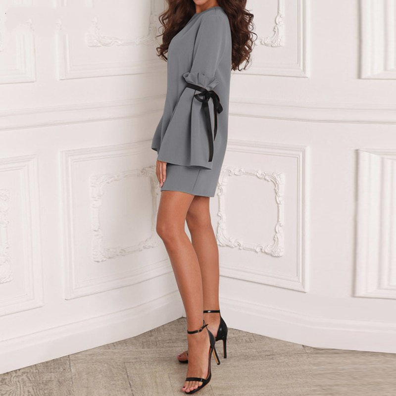 Women's Spring Casual Short Loose Dress With Ruffles