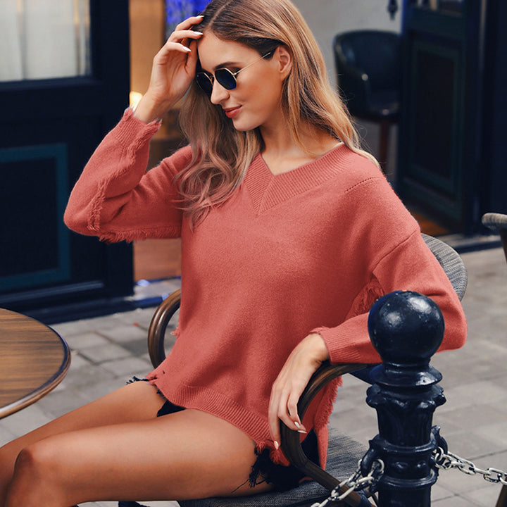 Women's Autumn/Winter Warm V-Neck Knitted Slim Pullover