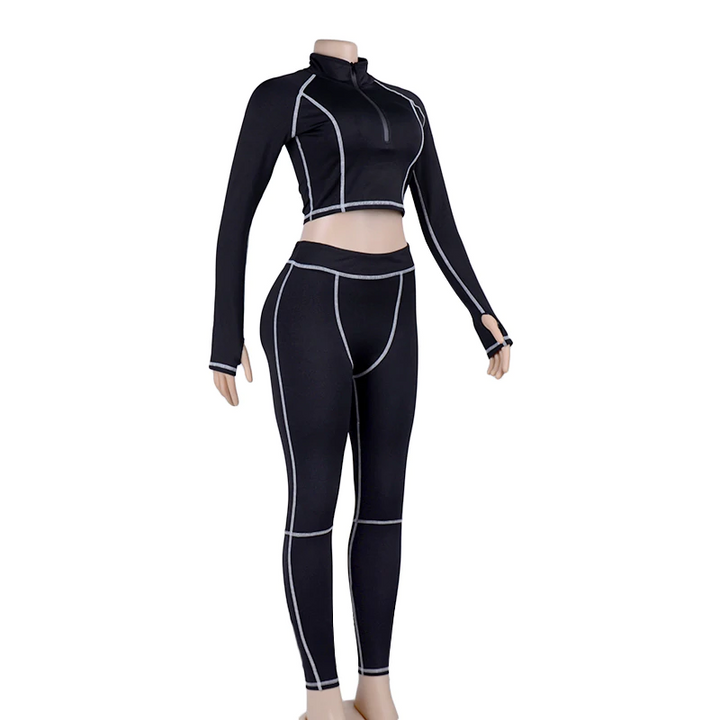 Women's Casual Spandex O-Neck Two-Piece Fitness Set | Top And Leggings