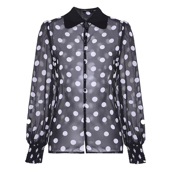 Women's Summer Casual Polyester Long-Sleeved Shirt With Print