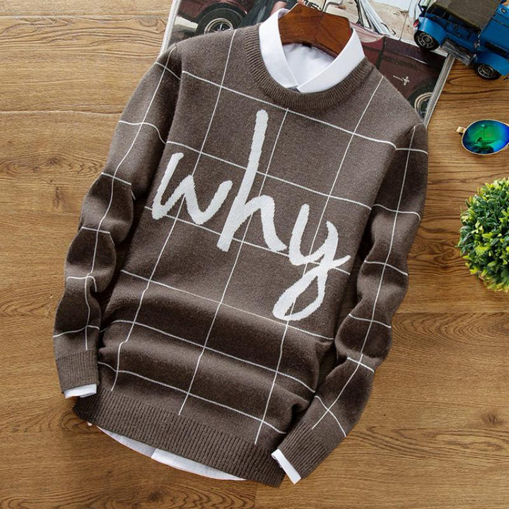 "Men's Casual Knitted Printed Sweater ""Why"""