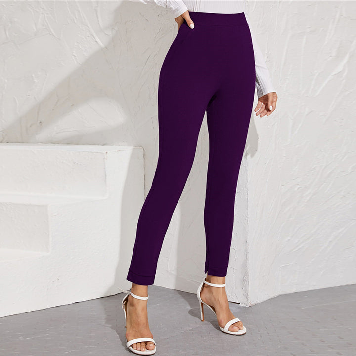 Women's Autumn High-Waist Skinny Leggings With Pockets