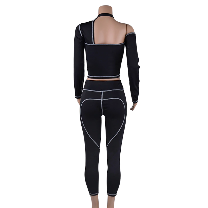 Women's Casual Spandex Long-Sleeved Two-Piece Fitness Set | Top And Leggings