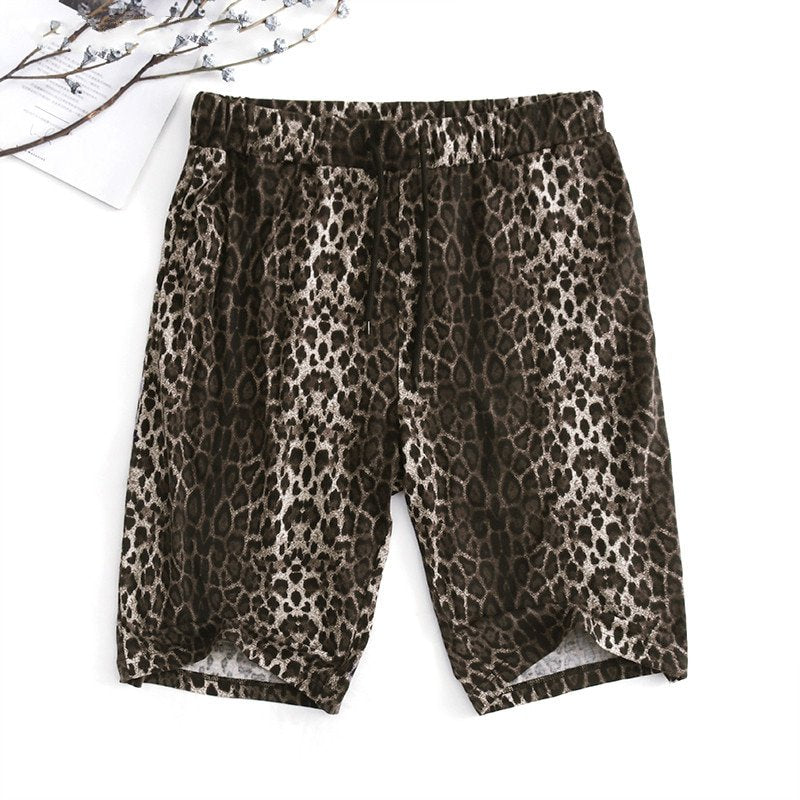 Men's Casual Loose Shorts With Leopard Print | Plus Size