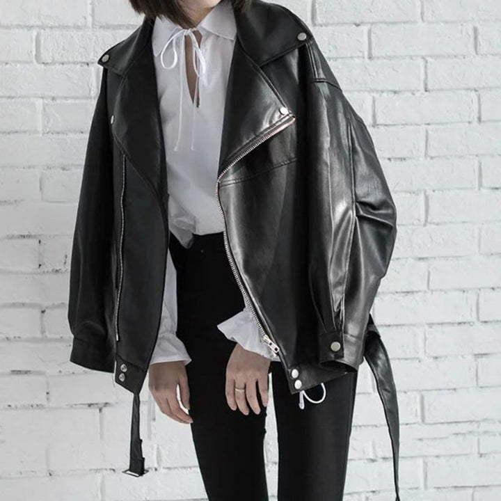 Women's Spring Leather Jacket With Zipper