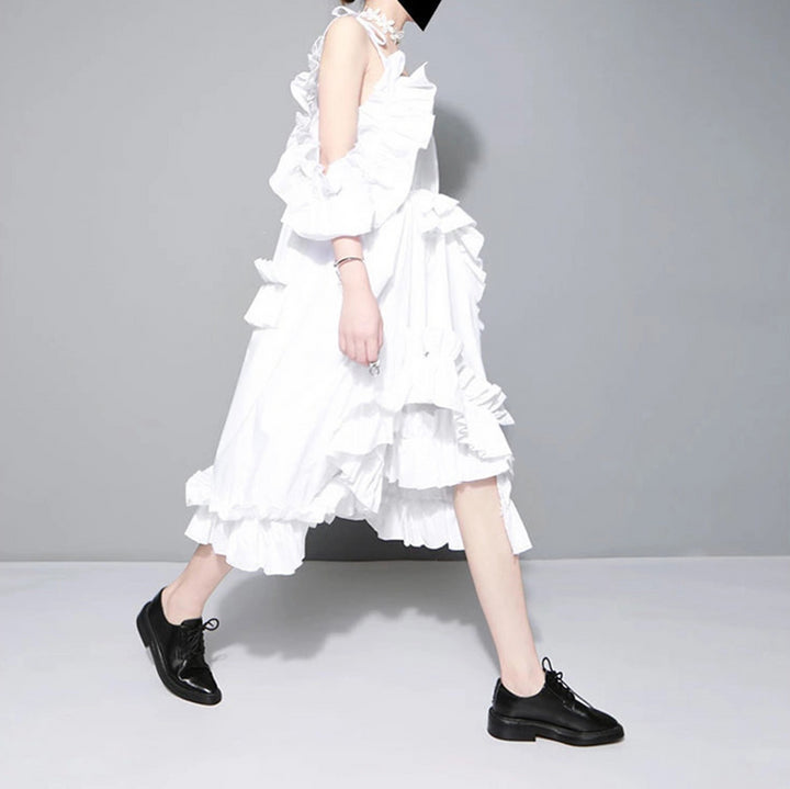 Women's Spring Casual Loose Dress With Ruffles