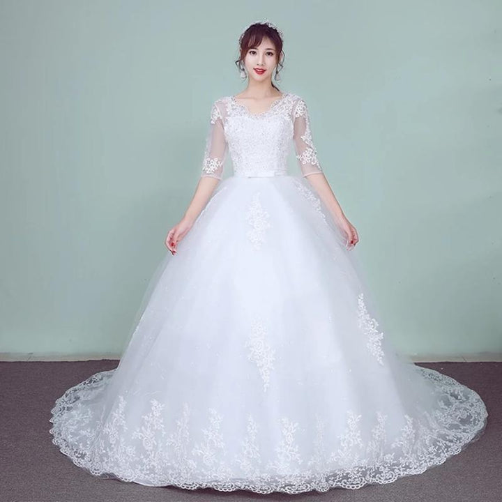 Women's V-Neck Lace Long Wedding Dress
