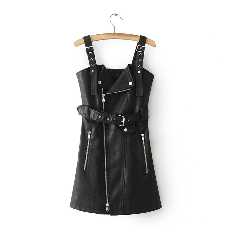 Women's Leather V-Neck Dress